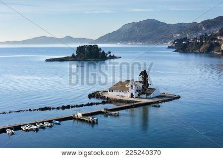 Beautiful Kanoni hill area in Corfu with Pontikonissi island and Vlacherna Monastery. Mouse Island.