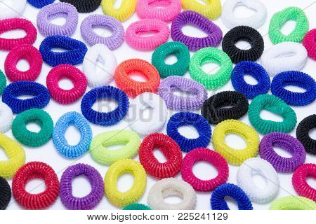 Hair elastic bands isolated on the white background.