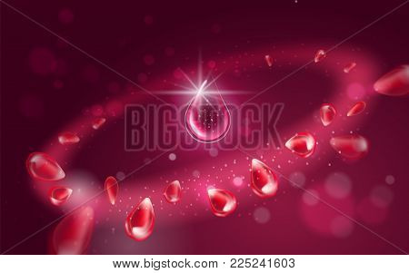 A drop of essence oil or serum. Bright radial effect with flying elements of pomegranate with particles. Light aura effect with effect on red bokeh background for decoration. Vector realistic illustration.