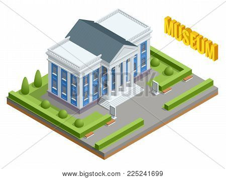 City architecture public government building. Isometric museum building. Exterior of Museum building with title and columns. Vector Illustration