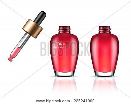 Glass transparent bottle for serum, essence oil or creme fluid with cosmetic pipette. Package design template. 3d vector realistic illustration. Theme of cosmetics, skin care, youth and beauty.