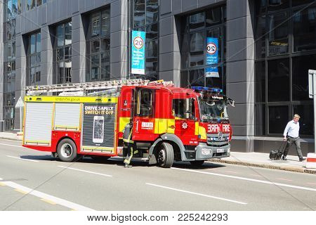 London, United Kingdom - August 25, 2017: Emergency Services Firefighters From The London Fire Briga