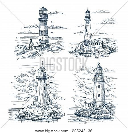 Set of isolated sketches with lighthouse near warehouse or keeper house, clouds and seagulls. Island with rocks and searchlight, beacon building for sea or ocean travel route beam. Marine theme