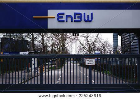 STUTTGART, GERMANY - FEBRUARY 03: The monitored entrance gate of the electricity and gas provider EnBW of Energy Baden-Württemberg AG on February 03, 2018 in Stuttgart.