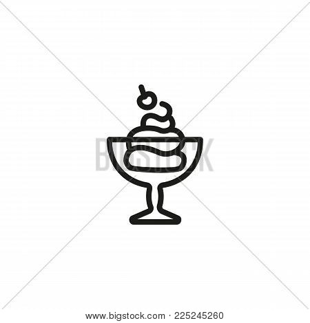 Icon of ice cream. Bawl, cherry, yogurt. Food and restaurant concept. Can be used for topics like treat, cafe, dessert