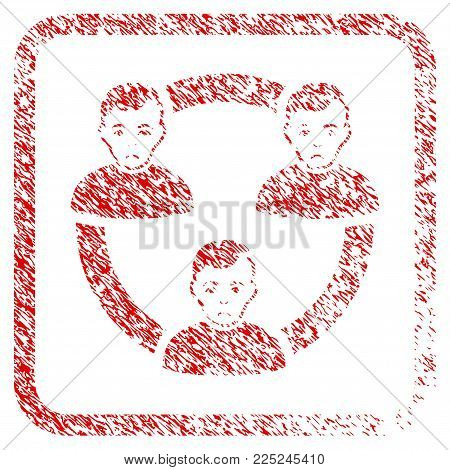 Connected Social Members rubber seal stamp imitation. Human face has affliction sentiment. Scratched red emblem of connected social members.