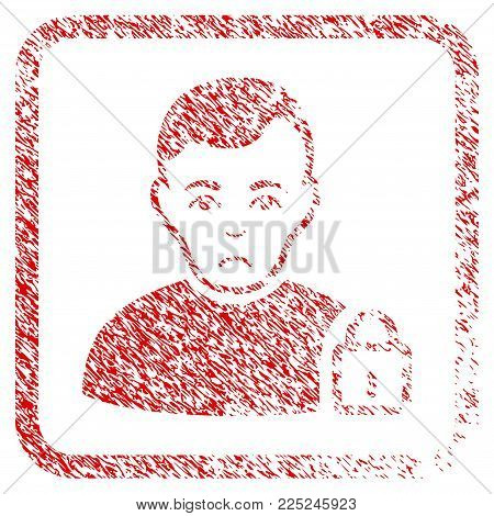 User Lock rubber seal stamp imitation. Human face has dolour emotion. Scratched red sticker of user lock. Icon vector symbol with grunge design and corrosion texture inside rounded square frame.