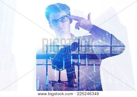Stressed businessman on abstract whte city office background with forex chart. Risk and investment concept. Double exposure