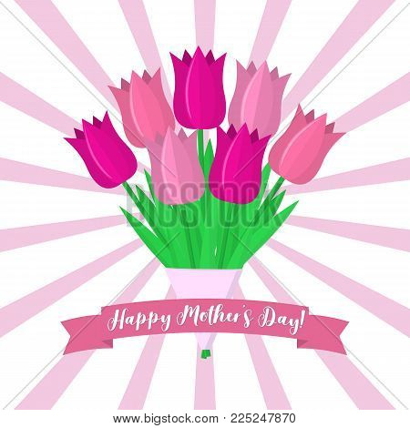 Bouquet of seven pink tulips against a background of rays. Pink ribbon with a pity with Mother's Day. Flat style, vector.