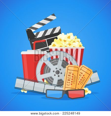 Cinema movie poster design vector template. Movie film reel and strip, ticket, popcorn, clapper board, soda takeaway, 3d glasses on blue background.