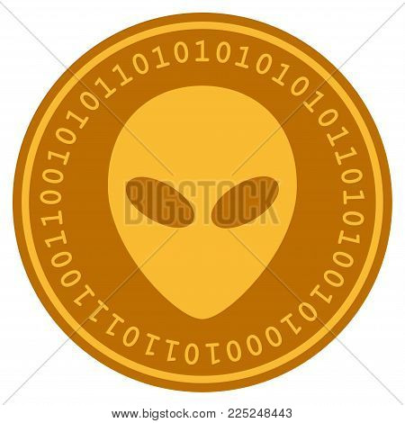 Alien Head golden digital coin icon. Vector style is a gold yellow flat coin cryptocurrency symbol.