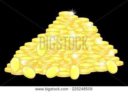 Vector heap of golden coins, business backround