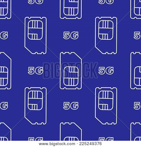 5g sim card. Vector 5g SIM Cards Seamless Pattern on blue Background.