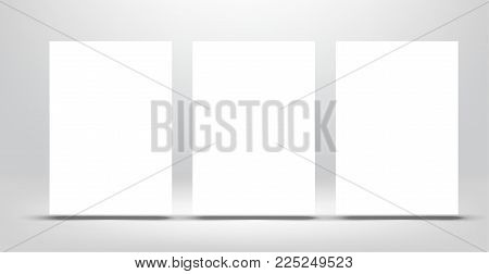 Three floated poster a4 mockup. Vector template on light gray background