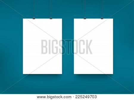 Paper card two a4 page floated on blue wall, vector template