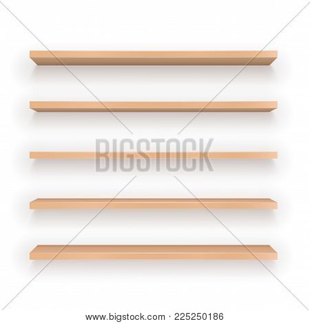 Set of vector Wood Shelves with difference view angle on white background