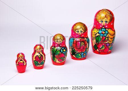 Traditional russian dolls. Matryoshka is a Russian wooden.