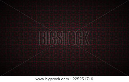 Abstract Puzzle Widescreen Background, Black Puzzle Pieces With Red Borders, Vector Illustration