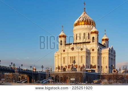Moscow, Russia - February 01, 2018: Cathedral of Christ the Saviour at sunny winter morning. Moscow in winter