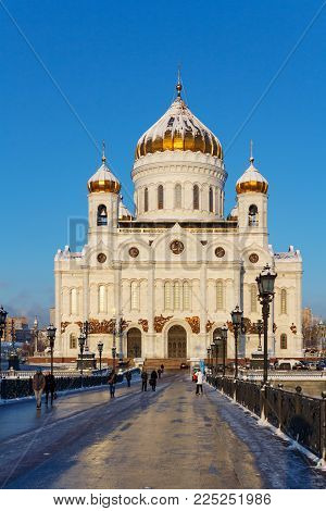 Moscow, Russia - February 01, 2018: Facade of Cathedral of Christ the Saviour in Moscow at sunny winter morning