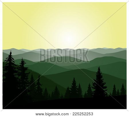 Panorama Of Mountains. Green And Yellow Shades.