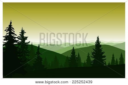 Silhouette Of Mountains And Coniferous Trees. Evening. Blue Shades.
