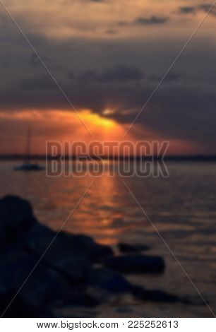 sunset on the river. Blurred sunset beach , Abstract blurred evening background , Abstract blurred textured background , Blurred nature background