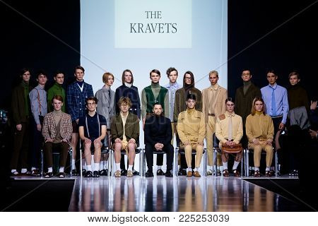 MOSCOW, RUSSIA - MARCH 26, 2017: Model walk runway for THE KRAVETS catwalk at Autumn-Winter 2017-2018 Moscow Fashion Week. Men's fashion