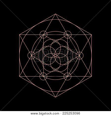 Vector sacred geometry symbols with triangle, hexagon, circle and floral motif. Neon mystical geometry symbol.