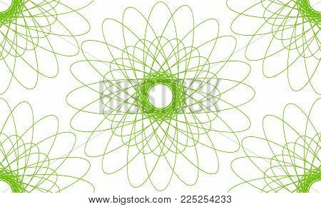 Vector seamless pattern from green simple guilloche on white background. Geometric mandala
