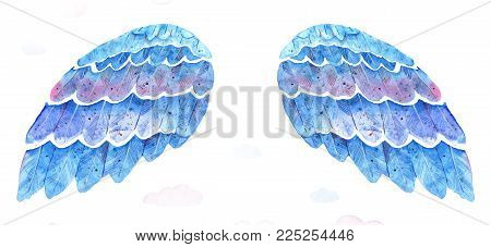 Hand drawn blue watercolor wings on white background