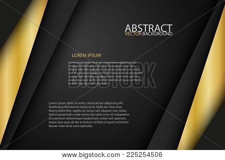 Black Background Overlap Gold And Black Sheets, Modern Abstract Widescreen Background With Place For