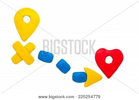 Pointer and heart navigation sign isolated. Modelling clay navigation sign on white background. Route start and destination pointer. Heart shape pointer. Romantic journey. Road map to love. Love route