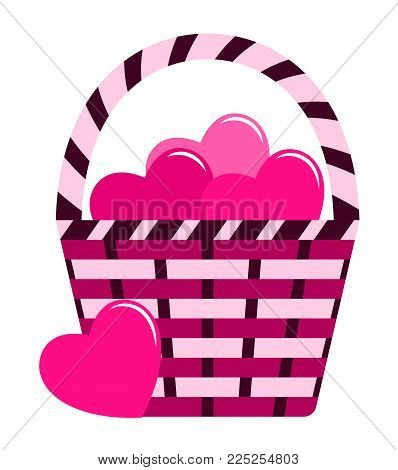 vector basket of hearts isolated on white background