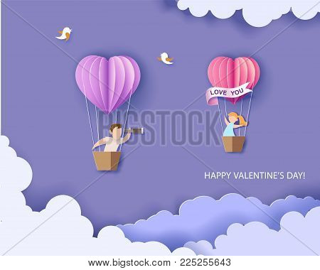 Valentines day card. Abstract background with couple in love in balloon basket, heart and blue sky. Vector illustration. Paper cut and craft style.