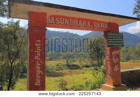 Pokhara Nepal - November 8, 2017: Basundhara Park Entrance Signage In Pokhara Nepal.