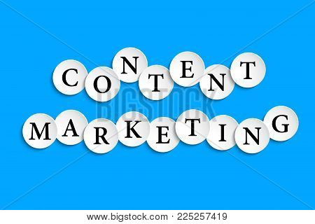 Content Marketing Inscription Composed Of Paper Wheels With Shadow, Digital Marketing, Media Adverti