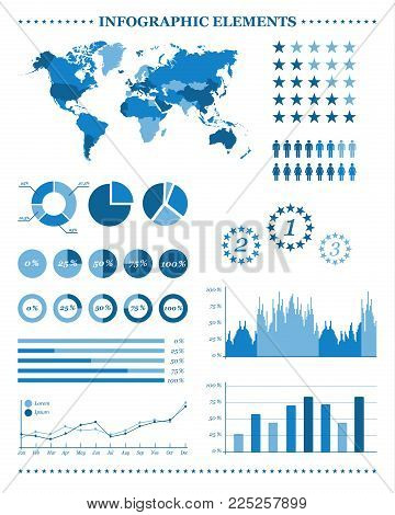 Set Of Blue Infographic Elements, Demographic And Geographic Icons, Vector Illustration For Your Inf