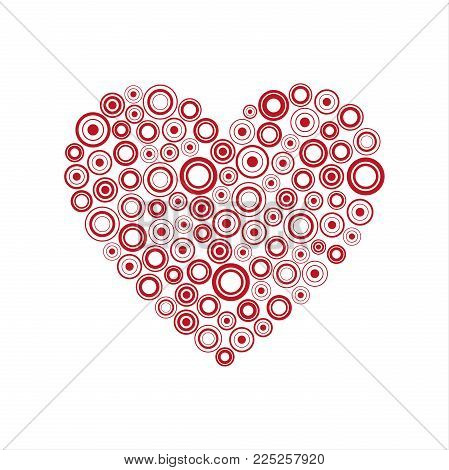 Red Heart Of The Rings, Happy Valentines Day Card With Abstract Heart, Be My Valentine Background, V