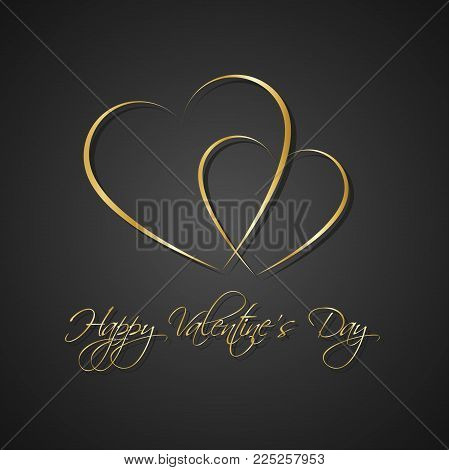 Gold Black Simple Happy Valentines Day Card With Two Heart, Be My Valentine Background, Vector Illus
