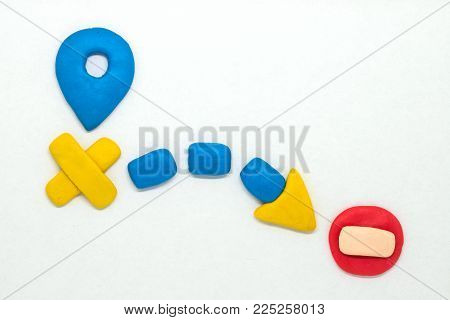 Modelling clay navigation sign on white background. Bright navigation sign isolated. Road signs clipart. Route start and destination pointer. Stop or brick sign. Closed way. Road map child handmade