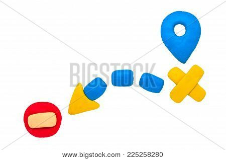 Modelling Clay Navigation Sign On White Background. Bright Navigation Sign Isolated. Road Signs Clip