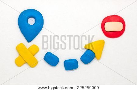Modeling Clay Navigation Sign On White Background. Child Hobby Road Transportation Icons. Clay Roads