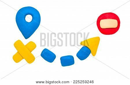 Modelling clay navigation sign on white background. Bright navigation sign isolated. Road signs clipart. Route start and destination pointer. Stop or brick sign. Closed way Road trip map concept