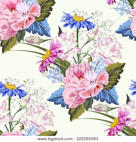 Seamless pattern with beautiful garden flowers. Flower background for textile, cover, wallpaper, gift packaging, printing.Romantic design for calico, silk.