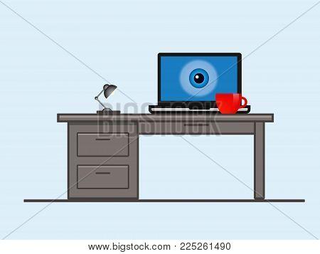 A Laptop Screen With An Eye.