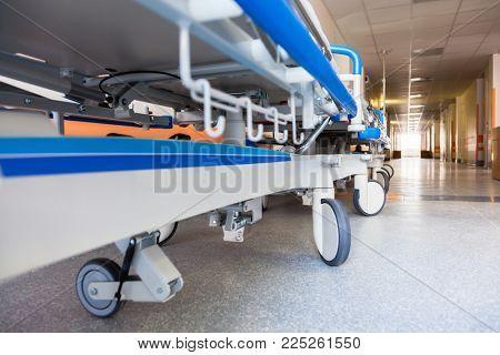 Close Up Empty Gurney in Hospital Hallway