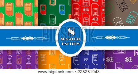 4g, 5g, 3g sim card. Vector SIM Cards Seamless Pattern set