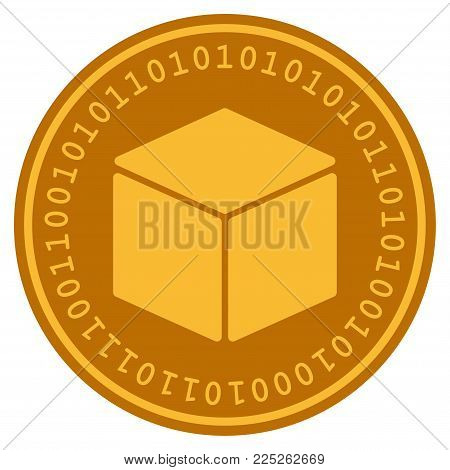Cube golden digital coin icon. Vector style is a gold yellow flat coin cryptocurrency symbol.