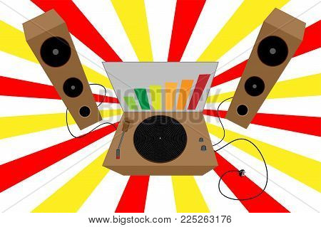 Dj . Old Turntable. Retro Vinyl Vector Disco